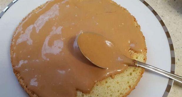 Торт с варёной сгущёнкой бисквита