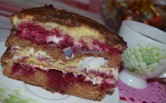 Торт с вишней и сгущёнкой