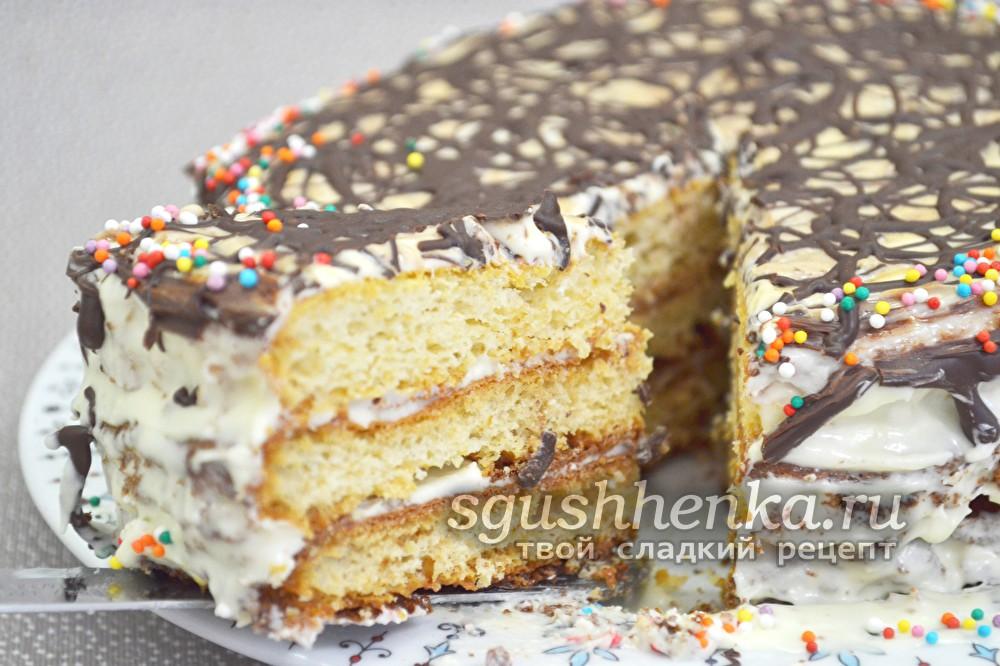 Торт Молочная девочка, рецепт с фото пошагово в домашних условиях со сгущенкой