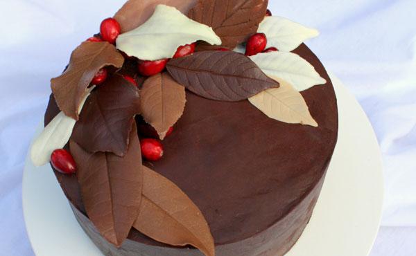 Оригинальные листочки для украшения торта из шоколада