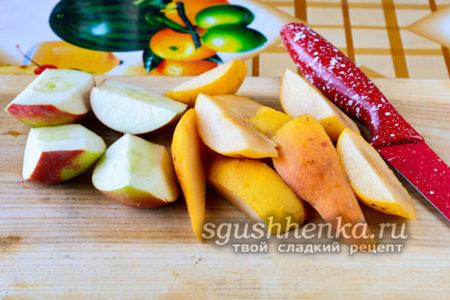 порезать фрукты и яблоки