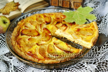 отрезанный кусочек пирога с яблоками