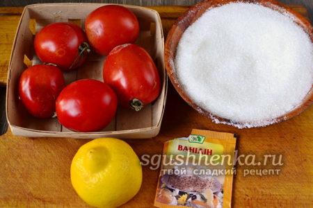 Ингредиенты для варенья из красных помидоров