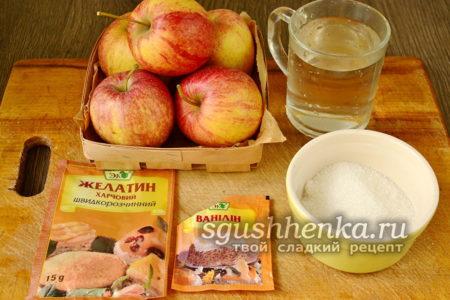 Продукты для желе из яблок