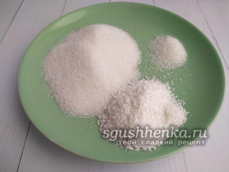 сахар, кокосовая стружка