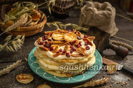 блинный торт с творожным кремом на завтрак