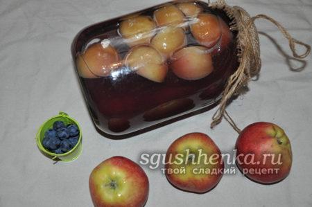 компот на зиму из терна и яблок