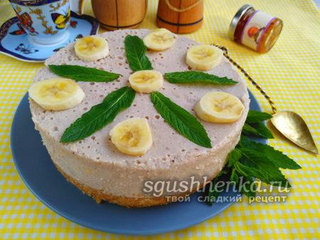 Банановый чизкейк без выпечки - рецепт с фото пошагово, в домашних условиях