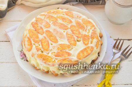 торт без выпечки из сметаны и бананов
