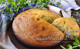 пышный бисквит на кефире без яиц