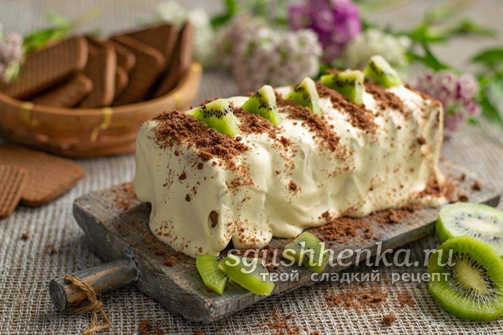 оригинальный торт без выпечки Полосатый