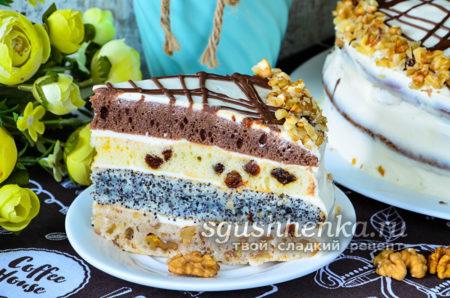 торт из 4 коржей