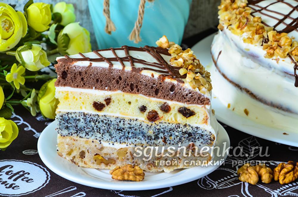 вкусный торт из 4-х коржей