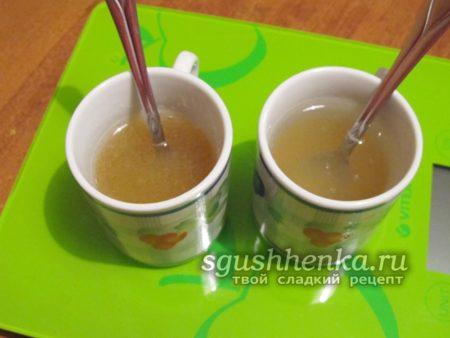 развести желатин в воде