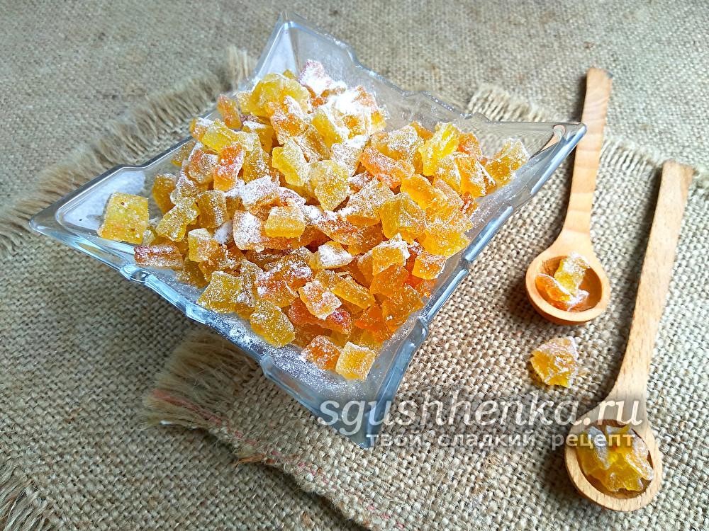 цукаты из арбузных корок с апельсином и лимоном