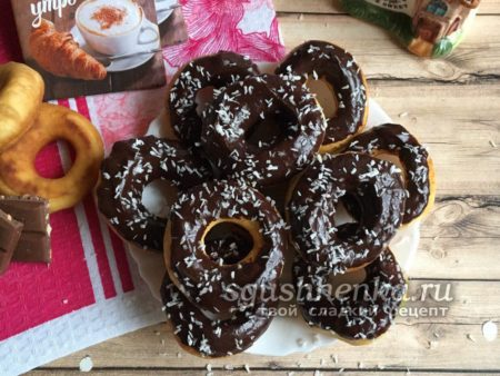 пончики без дрожжей с шоколадом