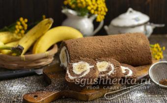 шоколадно-банановый рулет без муки с начинкой