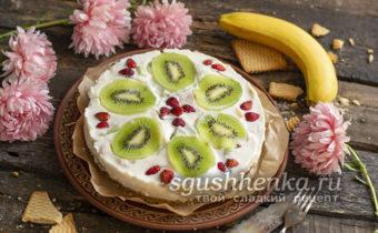 торт с киви и бананом