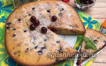 заливной английский пирог с вишней