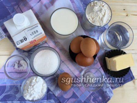 ингредиенты для заварного торта