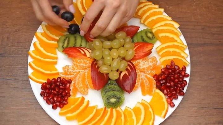 оформление фруктовой нарезки на новогодний стол