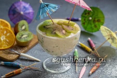 творожный десерт с желатином и фруктами