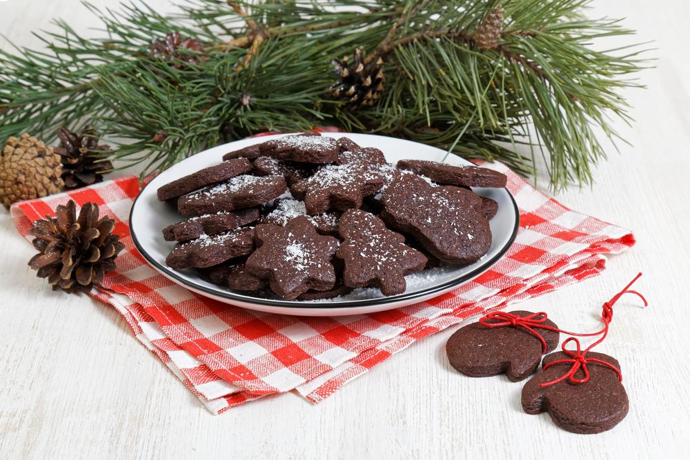шоколадные печенья с сахарной пудрой