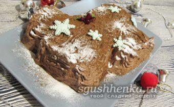сладкий десерт «Новогоднее полено»