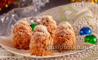 новогодний десерт без выпечки Еловые шишки
