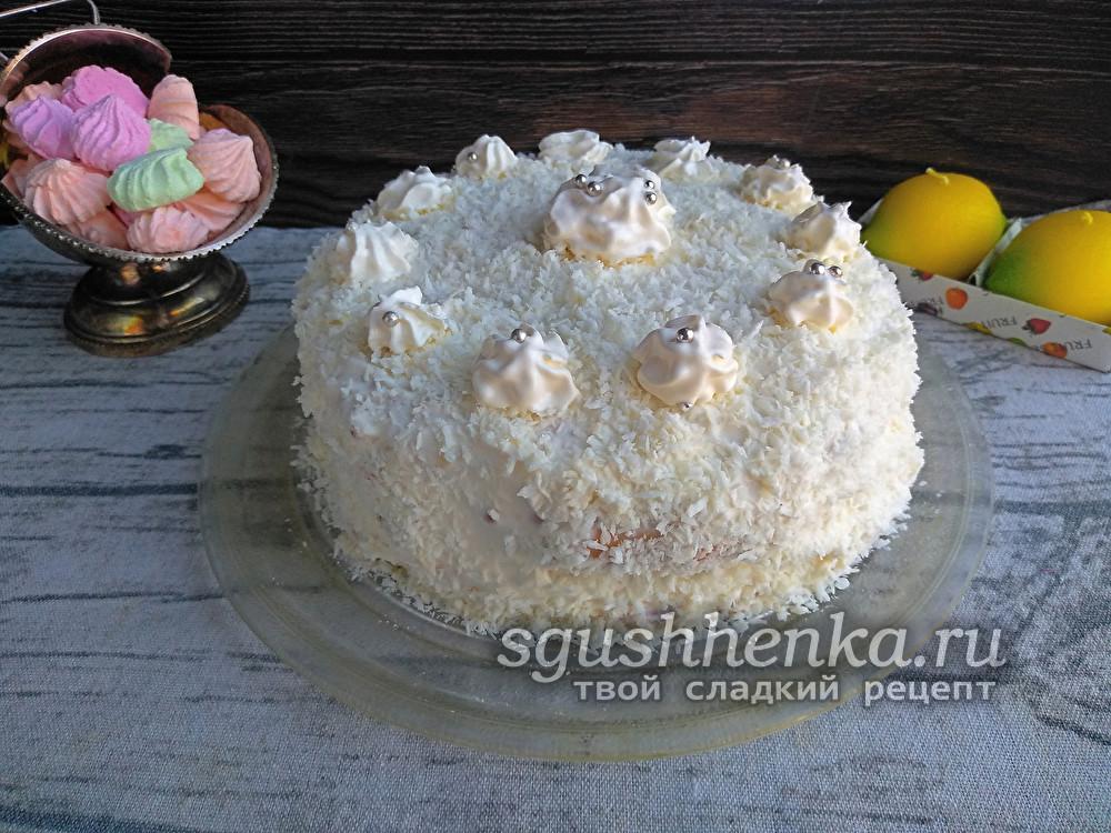 новогодний торт Вишня в снегу