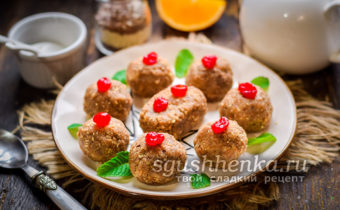 Пирожное Минутка из печенья со сгущенкой без выпечки