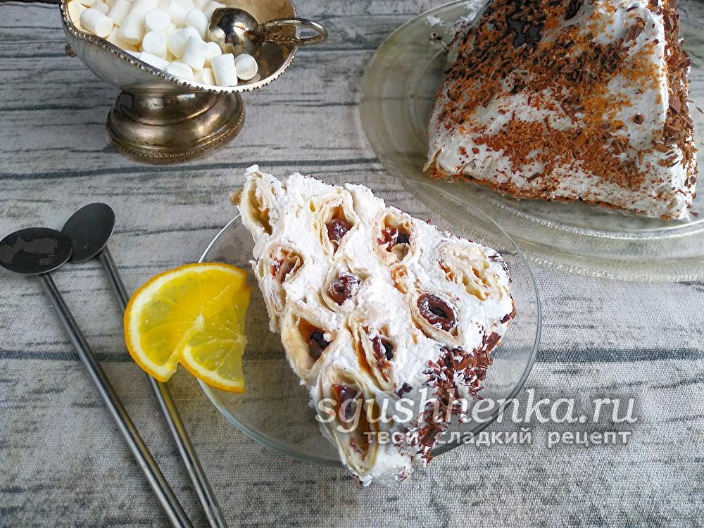 Торт без выпечки Вишневое блаженство