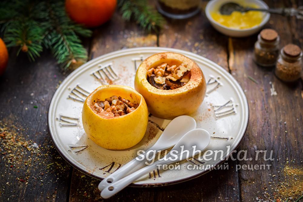 яблоки, запеченные с орехами и изюмом в духовке