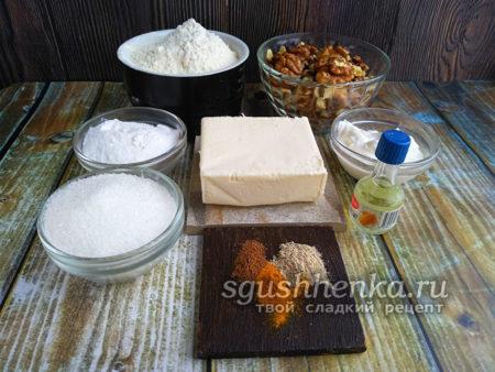 ингредиенты для печенья полумесяцы